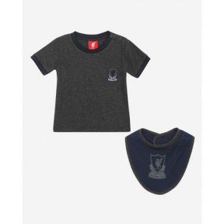 LFC Baby Crest Tee + Bib Set Charcoal