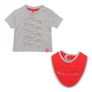 LFC Baby Tee + Bib Set Red / Grey